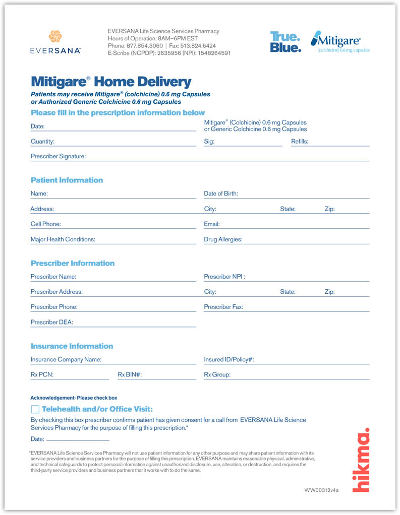 Mitigare<sup>®</sup>  Home Delivery Form